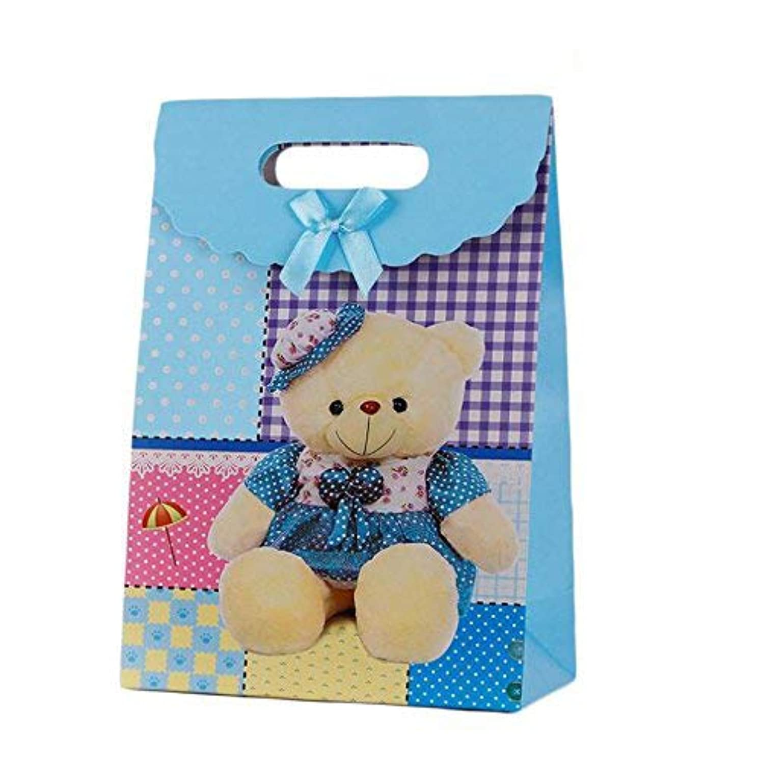 SumDirect 12Pcs Paperboard Stand Up Bear Party Gift Bags with Bow and Magic Tape for Birthday Favors, Gifts, Decoration, Arts & Crafts, Event Supplies and Christmas (Small, Bear)