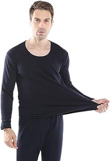 SATSAT Men's Thermal Underwear Set, Ultra Soft Comfortable Add Fertilizer Plus Velvet Thickening Long Johns Set, Moisture ...