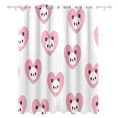 NQEONR Best Living Room Curtains Heart Surround Lovely Panda Single-Sided Drapes Window Treatment Shower Curtain Panel Bedroom Bath 55x84 Inch 2 Pcs Print Window Curtains