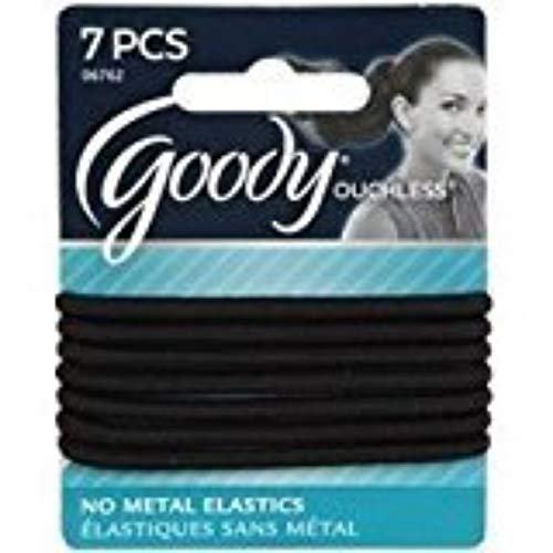 Goody Ouchless Braided Elastics, Black, 7 Count