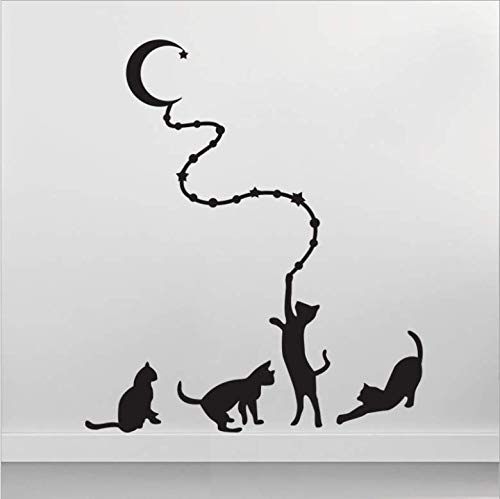 Hbbhbb Four Cats And Moon Living Room Bedroom Decoration Green Wall Stickers Pvc Removable Solid Color 83X60Cm