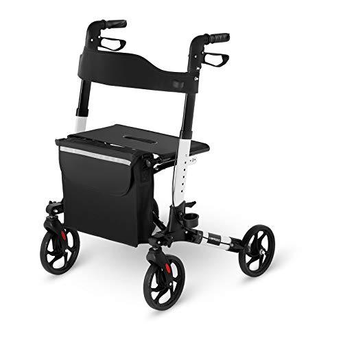 Uniprodo Andador Para Adultos Caminador UNI_ROLL_02 DF (Capacidad De Carga Máxima 136 kg, Ruedas De TPR, Altura Ajustable Entre 81,5 y 94 cm, Blanco)
