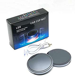 2pc LED Cup Holder Lights LED Light Cup Holder Bottom mat Pad with USB Rechargeable Interior Decoration Light for Car, 7 Colors