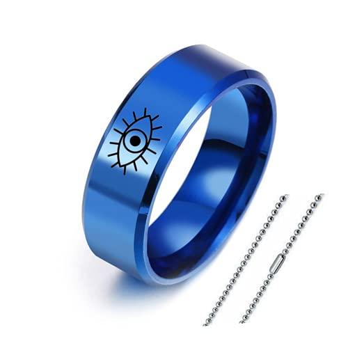 Elegante anillo de acero inoxidable para hombre y mujer, anillo de dedo con amuleto turco de ojo para mujer, para aniversario, joyería para ella, tamaño 6, 7, 8, 9, 10, 11, 12, Acero inoxidable,
