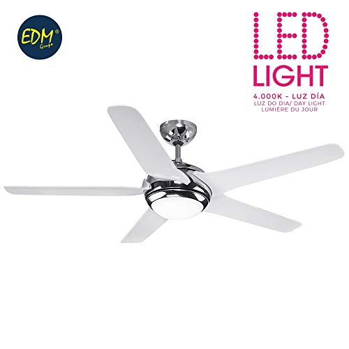 Plafondventilator LED model Beaufort Ø 130 cm wit chroom 1200 lumen EDM