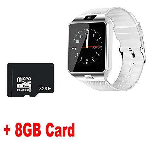 AAA&LIU Reloj Inteligente Bluetooth DZ09 Relojes Smartwatch TF Cámara SIM Hombres Mujeres para iOS iPhone Samsung Huawei Xiaomi Teléfono Android, Blanco y Tarjeta de 8GB, con Caja