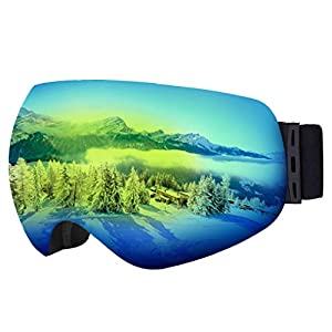 Ski & Snowboard Goggles – OTG Snow Glasses for Skiing, Snowboarding & Outdoor Winter Sports – Snowmobile Gear with Anti-Fog Frameless Dual-Layer Lens & UV400 Protection – Fits Men, Women & Youth