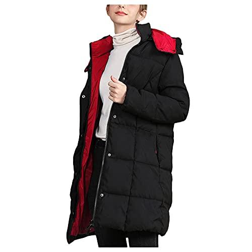 Dasongff - Chaleco largo acolchado con capucha y bolsillo para mujer