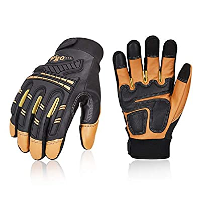Vgo 3Pairs High Dexterity Water Repellent Goat Leather Heavy Duty Mechanic Glove,Rigger Glove,Anti-vibration,Anti-abrasion,Touchscreen (Brown,GA8954)