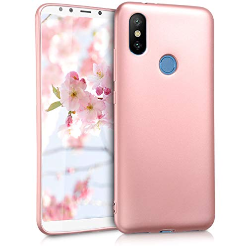 kwmobile Funda Compatible con Xiaomi Mi 6X / Mi A2 - Carcasa móvil de Silicona - Protector Trasero en Oro Rosa Metalizado