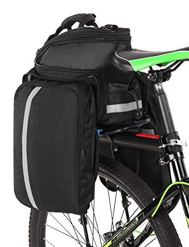Lixada 25L Fahrrad Rücksitztasche Multifunktions erweiterbar Wasserdicht MTB Fahrrad Gepäcktasche Fahrrad Gepäcktasche mit Regenschutz, schwarz - 2