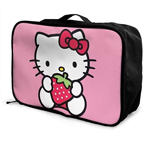 Hello Kitty Strberry Bolsa de viaje de almacenamiento Paet plegable impermeable ligero portátil de alta capacidad
