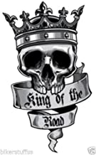 MFX Design Skul King of The Road Laptop Sticker Decal Toolbox Sticker Decal Sticker Decal Bumper Sticker Decal Window Sticker Decal Vinyl - Made in USA 3.5 in. x 2 in.