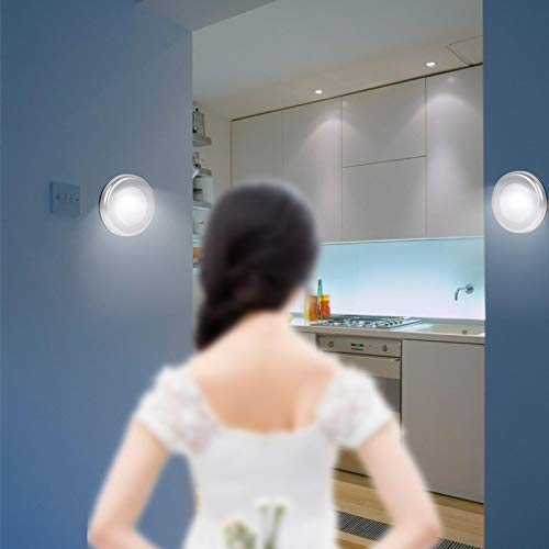 Sensor de luz, Zaradi 3Pcs Inalámbrico PIR Sensor de Movimiento automático Luz Nocturna 6 LED Cuerpo Redondo Lámpara alimentada por batería
