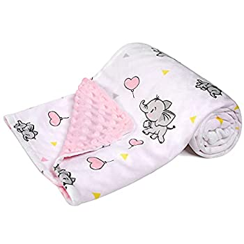 DaysU Minky Baby Blanket Silky Soft Micro Fleece Baby Blanket with Dotted Backing Printed Animal Throw Blanket for Girls Elephant Pink 30x40 Inches