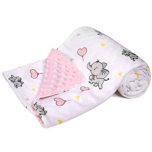 DaysU Minky Baby Blanket, Silky Soft Micro Fleece Baby Blanket with Dotted Backing, Printed Animal...