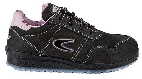 COFRA, Scarpe antinfortunistiche da donna Alice S3 SRC in stile sneaker, nero rosa, 41 EU