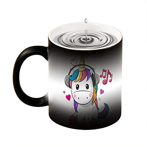 Taza de mágica,Unicornio Tazas de Cerámica Cambio de color en Caso de Agua Caliente para Té Café o Leche 330ML Taza Mágica Personalizada