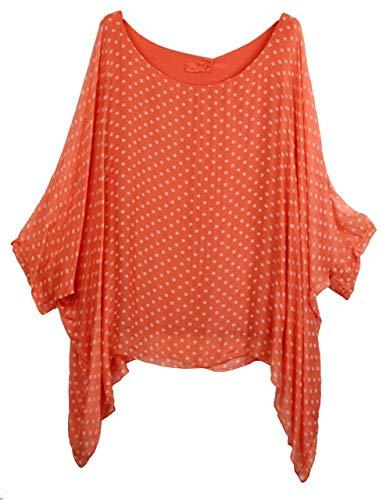 BZNA zijden tuniek zijden blouse koraal oranje bloes met stippen stippeltjes patroon zijdeunica vleermuis mouwen 38 40 42 44 one size dames jurk top elegant