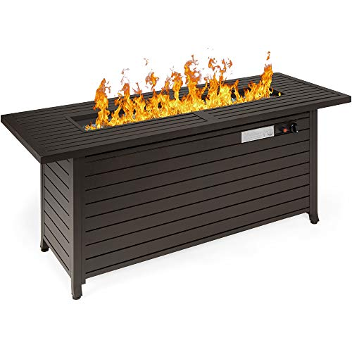 Best Choice Products 57in 50,000 BTU Rectangular Extruded Aluminum Gas Fire Pit Table w/Burner Lid,...