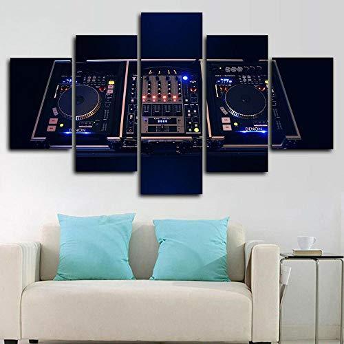 BDFDF Cuadro sobre Lienzo - 5 Piezas - Impresión En Lien DJ Controller Mixer Music 5 Piezas Imágenes Pared Decoración De Dormitorio Modular Regalos De Cumpleaños De Navidad