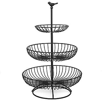 3 Tier Fruit Basket Bowl Countertop Fruit Stand Separable Basket for Vegetables Snacks Household Items - Metal Cast Iron Black