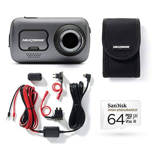 Nextbase 622GW Full 4K HD, Front In Car Dash Cam Camera, WIFI-Bluetooth-GPS- Intelligent Parking, SOS Emergency, Bundle Kit with Click and Go Mount, Hardwire Kit, 64GB SD Card and case included