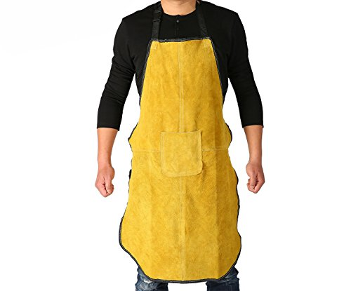 Ouzong Cowhide Leather Welding Bib Apron Heat Flame Resistant Apron With Pocket Golden Brown