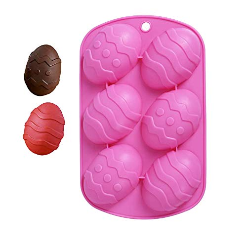 Easter Mold Egg Shaped Silicone Mold Cake Chocolate Supplies Egg Silicone Molds 6 Cavity Baking Clay Moulds for DIY Cake Decoration, Pastry, Muffin, Ice Cube, Soap(1 Pack)