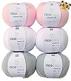 Woll-Set Babywolle Rico Baby Classic 6x50g #21, weiche Wolle zum Stricken und Häkeln, Strickpackung, Häkelpackung mit 1 Tigerknopf