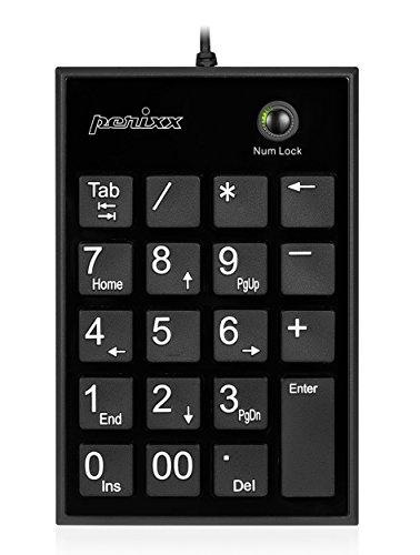 Perixx PERIPAD-202 Nummernblock für Laptop - USB Anschluss Große Zeichen Tab Taste 19 Leise Scherentasten, Schwarz