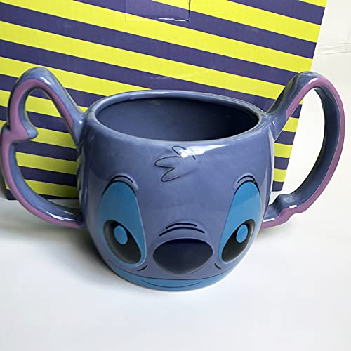 Copa De Vino Taza De Café Tazacartoon 3D Three-Dimensional Stitch Coffee Cup Breakfast Milk Stitch Double Handle Ceramic Mug Binaural