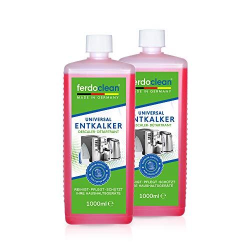ferdoclean 2L Entkalker für Kaffeevollautomaten & Kaffeemaschine | 2 x 1000 ml Reiniger zur schonenden Entkalkung | kompatibel mit allen Herstellern | Universalentkalker mit Farbindikator
