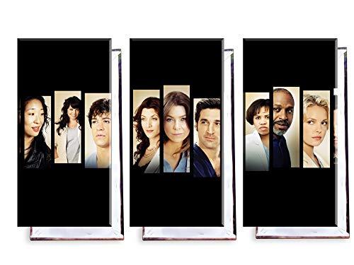 Unified Distribution Grey's Anatomy - Dreiteiler (120x80 cm) Kunstdruck auf Leinwand • erstklassige Druckqualität • Dekoration • Wandbild