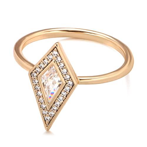 Anillo de Boda de Novia de circón Natural de Moda 585 Anillos de Cristal de rombo de Oro Rosa para...