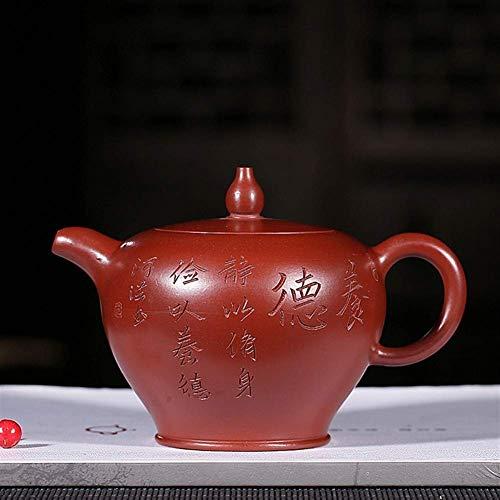 LZZ Tetera Resistente al Calor Juego de té Teteras exóticas,Tetera Famosa Parte Superior con Cuentas de Mano Gran Abanico Rojo Juego de té de Kung fu Tetera Regalos presentes,Juego de té