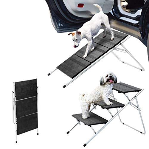Escaleras plegables para perros y mascotas, multifuncionales, ajustables para mascotas, puede ser una rampa y escalón, cargable hasta 30 kg, marco de metal para camas altas, camiones, maleteros y SUV