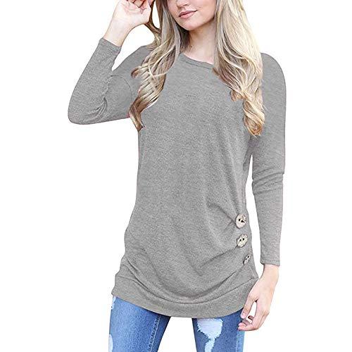 T-Shirt Damen Kurzarm Sommer Casual Einfarbig Tops Rundhals Knopfdesign Lose Shirts Oberteil Knopfleiste Tshirt Basic Solide Tunika Blusen Tees Sweatshirt Pullover Hemd