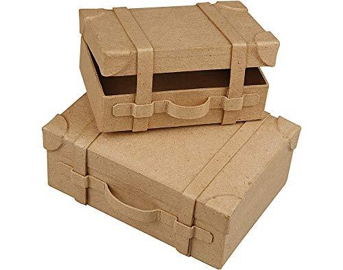 2Mini hecho a mano maletas de papel maché para decorar | formas de papel maché