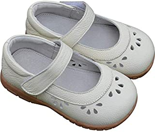 SandQ baby Girls White Leather Mary Jane Shoe with Cutouts