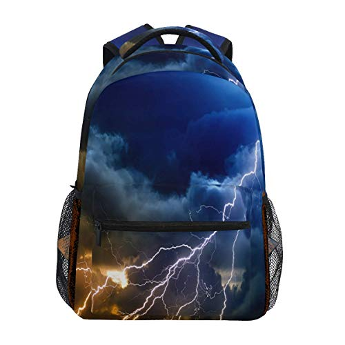 Men/Women Casual Backpacks,Laptop Backbag,Adjustable Diaper Bag,College School Book Bag,Travel Knapsack,Multifunction Shoulder Backpack,Sky Thunder Storm Rain Lightning