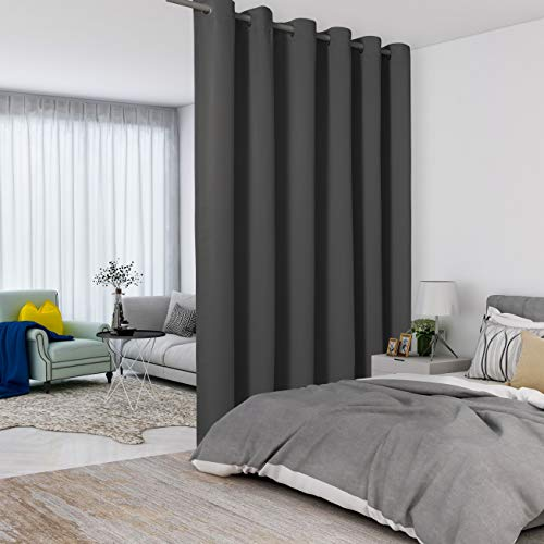 LORDTEX Dark Grey Room Divider Curtains - Total Privacy Wall Room Divider Screens Sound Proof Wide Blackout Curtain for Living Room Bedroom Patio Sliding Door, 1 Panel, 8.3ft Wide x 7ft Tall