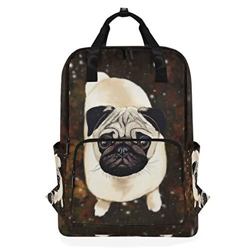 Hunihuni - Bolsa de hombro con diseño de perro carlino, multifunción, para la escuela, senderismo, viajes, mochila