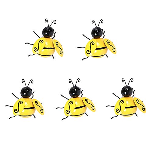 5 Pcs Manchester Bee Wall Art Metal, Decor Bee Wall Art, Bumble Bee Garden Decoration, Outdoor Garden Ornaments Projects to Build, Bumble Bee Metal Wall Art (S: 9.5*8*4cm)
