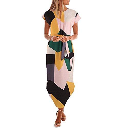FRAUIT zomerjurk dames bloemenprint jurk maxikjurk V-hals korte mouwen strandjurk geometrisch patroon Belted jurken met riem casual
