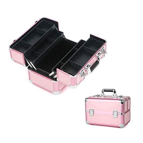 Boîte de maquillage, 4 plateaux de rangement beauté boîte vanité cas maquillage organisateur ongles bijoux cosmétique boîte de rangement artiste cas, rose
