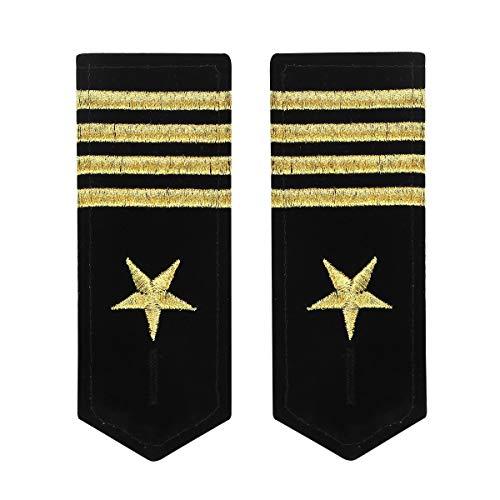 iixpin Epauletten Uniform Schulterklappen Schulterstücke Kapitän Schulterstücken Offizier Schulter Rangabzeichen Militär Kostüm Schwarz&Gold Typ D One Size