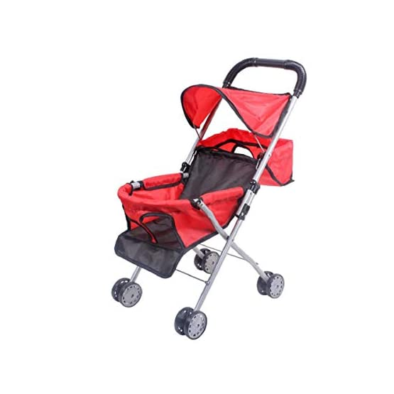 GCI Red Polka Dot Lightweight Baby Doll Foldable Compact Stroller