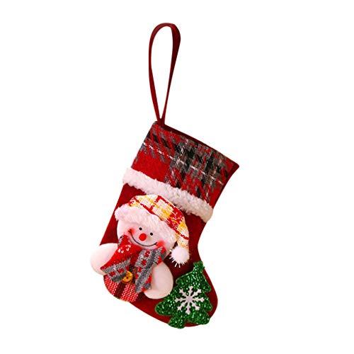 LoveLeiter Weihnachten Deco Filz-Nikolausstiefel zum Befüllen und Aufhängen - Nikolaus-Strumpf - Grün mit weihnachtlicher Stickerei Weihnachtsstrumpf enthältet Weihnachtsmann Schneemann