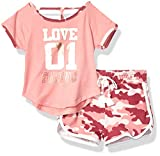 One Step Up Baby Girl's Soft Knit Top and Short Set Shorts, Mauve camo, 18M